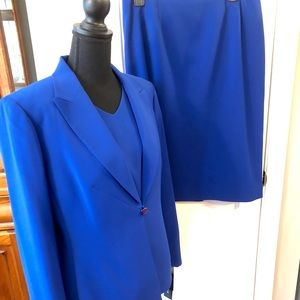 NWT LeSuit 3 Piece Suit Royal Blue Skirt/Vest